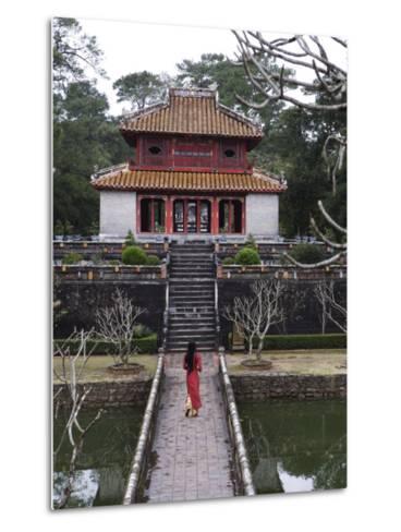 Vietnamese Schoolgirl Walking over Bridge to Minh Lau Pavilion, Vietnam, Indochina, Southeast Asia--Metal Print