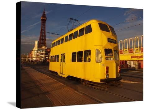Double Decker Tram and Blackpool Tower, Blackpool Lancashire, England, United Kingdom, Europe--Stretched Canvas Print