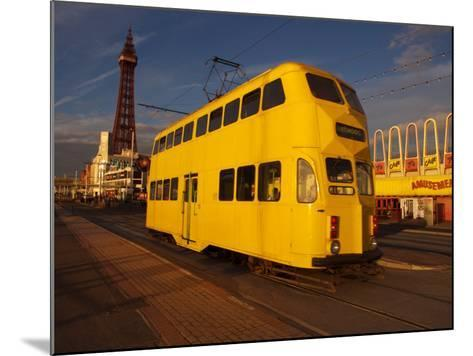 Double Decker Tram and Blackpool Tower, Blackpool Lancashire, England, United Kingdom, Europe--Mounted Photographic Print
