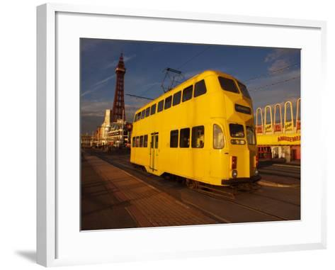Double Decker Tram and Blackpool Tower, Blackpool Lancashire, England, United Kingdom, Europe--Framed Art Print