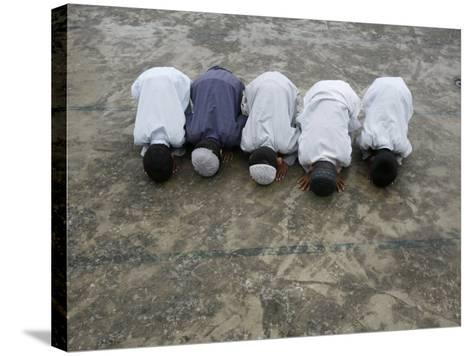 Muslim Boys Praying, Kathmandu, Nepal, Asia-Godong-Stretched Canvas Print