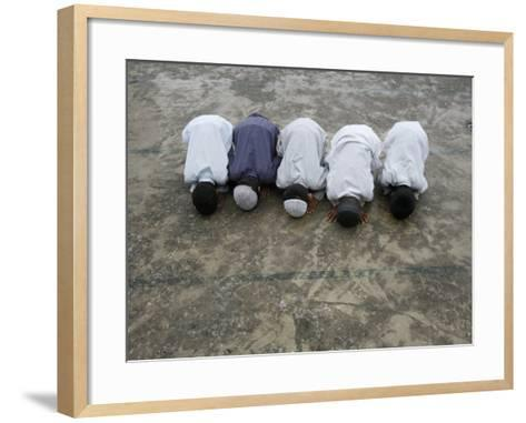 Muslim Boys Praying, Kathmandu, Nepal, Asia-Godong-Framed Art Print