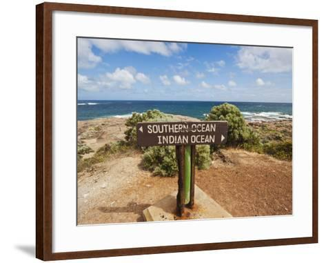 Sign Marking the Southern and Indian Oceans at Cape Leeuwin, Western Australia-Robert Francis-Framed Art Print
