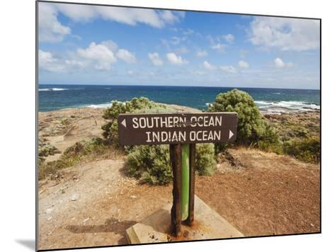 Sign Marking the Southern and Indian Oceans at Cape Leeuwin, Western Australia-Robert Francis-Mounted Photographic Print