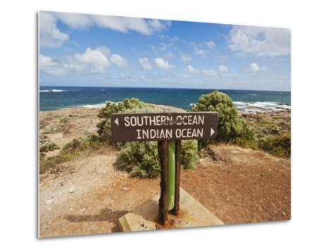 Sign Marking the Southern and Indian Oceans at Cape Leeuwin, Western Australia-Robert Francis-Metal Print