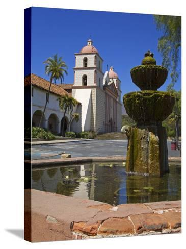 Fountain, Old Mission Santa Barbara, Santa Barbara City, California-Richard Cummins-Stretched Canvas Print