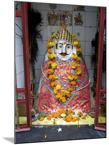 Hindu Street Shrine, Decorated with Marigold Mala (Garlands) for Diwali Festival, Udaipur, India-Annie Owen-Mounted Photographic Print