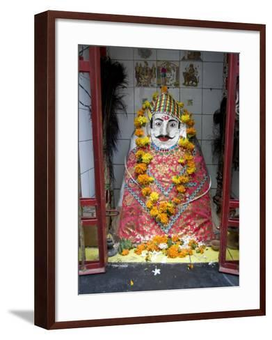 Hindu Street Shrine, Decorated with Marigold Mala (Garlands) for Diwali Festival, Udaipur, India-Annie Owen-Framed Art Print