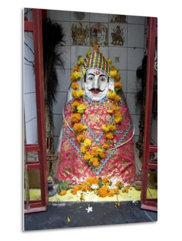 Hindu Street Shrine, Decorated with Marigold Mala (Garlands) for Diwali Festival, Udaipur, India-Annie Owen-Metal Print