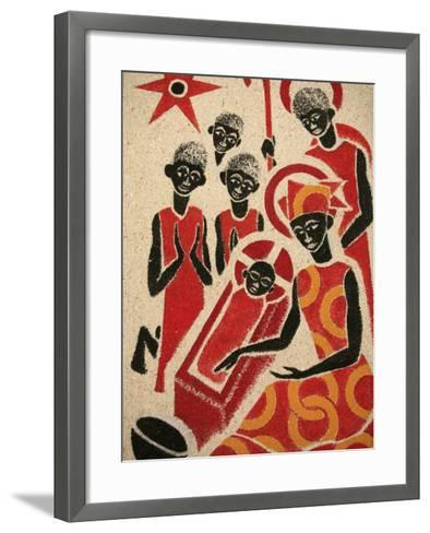 Nativity Scene Fresco Designed and Painted in 1963 by Dom Georges Saget, Keur Moussa Abbey Church, -Godong-Framed Art Print
