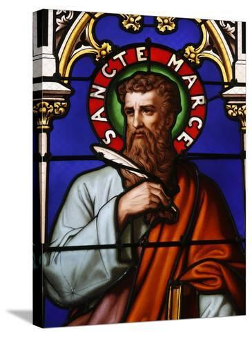 Stained Glass Window of St. Mark at Collegiale Notre-Dame Des Marais, France, Europe-Godong-Stretched Canvas Print