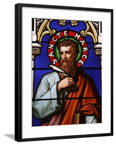 Stained Glass Window of St. Mark at Collegiale Notre-Dame Des Marais, France, Europe-Godong-Framed Art Print