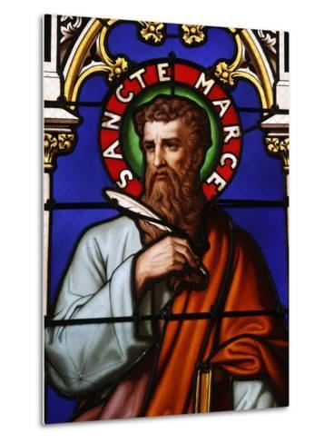 Stained Glass Window of St. Mark at Collegiale Notre-Dame Des Marais, France, Europe-Godong-Metal Print