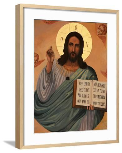 Icon at Aghiou Pavlou Monastery of Christ Holding St. John's Book, Mount Athos, Greece-Godong-Framed Art Print