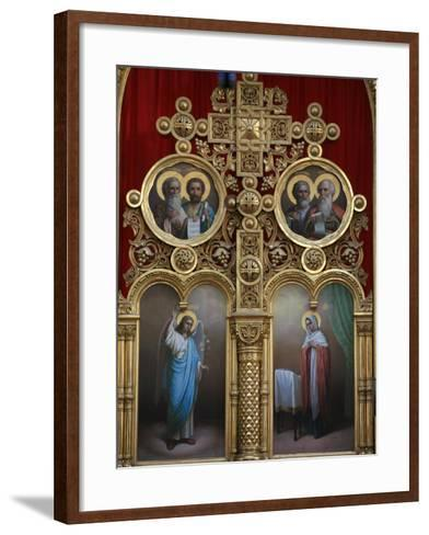 Iconostasis in Aghios Andreas Monastery Church on Mount Athos, Greece, Europe-Godong-Framed Art Print