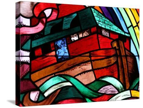 Noah's Ark Depicted in Stained Glass Window, Saint-Joseph Des Fins Church, Haute Savoie, France-Godong-Stretched Canvas Print