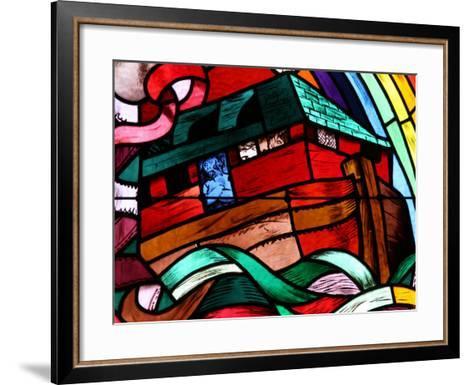 Noah's Ark Depicted in Stained Glass Window, Saint-Joseph Des Fins Church, Haute Savoie, France-Godong-Framed Art Print