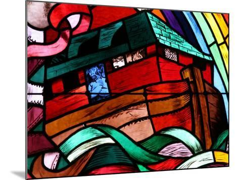 Noah's Ark Depicted in Stained Glass Window, Saint-Joseph Des Fins Church, Haute Savoie, France-Godong-Mounted Photographic Print