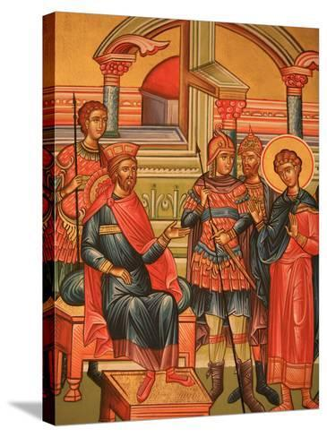 Greek Orthodox Icon Depicting Martyr with Roman Governor, Thessaloniki, Macedonia, Greece, Europe-Godong-Stretched Canvas Print
