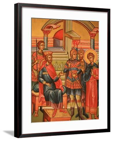 Greek Orthodox Icon Depicting Martyr with Roman Governor, Thessaloniki, Macedonia, Greece, Europe-Godong-Framed Art Print