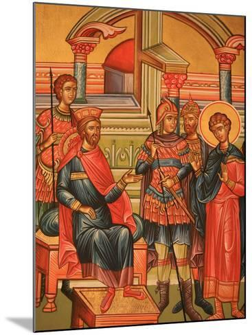 Greek Orthodox Icon Depicting Martyr with Roman Governor, Thessaloniki, Macedonia, Greece, Europe-Godong-Mounted Photographic Print