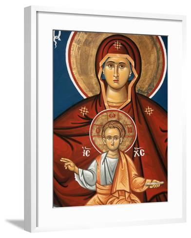 Greek Orthodox Icon Depicting Virgin and Child, Thessalonica, Macedonia, Greece, Europe-Godong-Framed Art Print