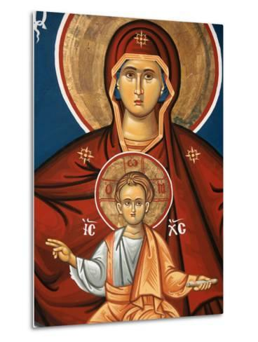 Greek Orthodox Icon Depicting Virgin and Child, Thessalonica, Macedonia, Greece, Europe-Godong-Metal Print
