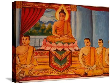 Scene from the Life of the Buddha, Vientiane, Laos, Indochina, Southeast Asia, Asia-Godong-Stretched Canvas Print