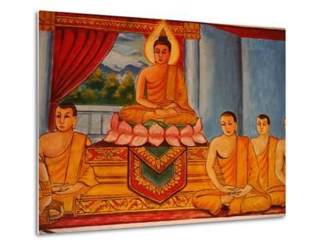 Scene from the Life of the Buddha, Vientiane, Laos, Indochina, Southeast Asia, Asia-Godong-Metal Print