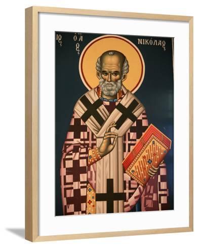 Greek Orthodox Icon Depicting St. Nicholas, Thessaloniki, Macedonia, Greece, Europe-Godong-Framed Art Print