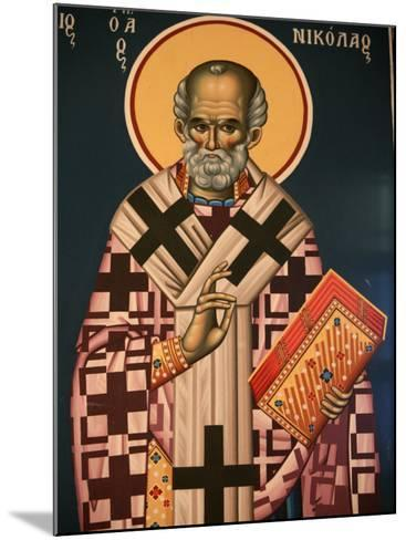 Greek Orthodox Icon Depicting St. Nicholas, Thessaloniki, Macedonia, Greece, Europe-Godong-Mounted Photographic Print