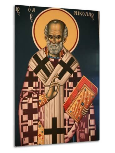 Greek Orthodox Icon Depicting St. Nicholas, Thessaloniki, Macedonia, Greece, Europe-Godong-Metal Print