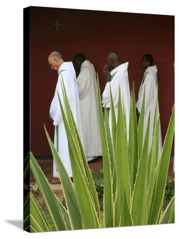 Monks in Keur Moussa Abbey Cloister, Keur Moussa, Senegal, West Africa, Africa-Godong-Stretched Canvas Print