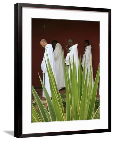 Monks in Keur Moussa Abbey Cloister, Keur Moussa, Senegal, West Africa, Africa-Godong-Framed Art Print