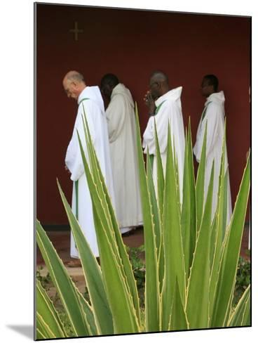 Monks in Keur Moussa Abbey Cloister, Keur Moussa, Senegal, West Africa, Africa-Godong-Mounted Photographic Print