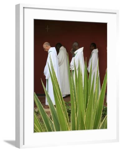 Monks in Keur Moussa Abbey Cloister, Keur Moussa, Senegal, West Africa, Africa-Godong-Framed Art Print