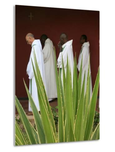 Monks in Keur Moussa Abbey Cloister, Keur Moussa, Senegal, West Africa, Africa-Godong-Metal Print