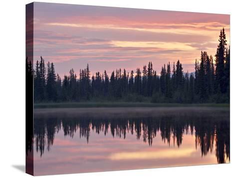 Sunset at an Unnamed Lake Near Salmo Lake, Alaska Highway, Yukon Territory, Canada, North America-James Hager-Stretched Canvas Print