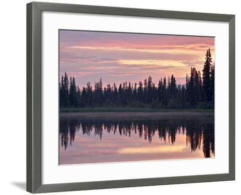 Sunset at an Unnamed Lake Near Salmo Lake, Alaska Highway, Yukon Territory, Canada, North America-James Hager-Framed Art Print