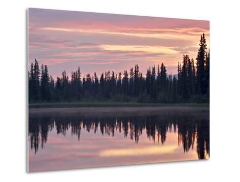 Sunset at an Unnamed Lake Near Salmo Lake, Alaska Highway, Yukon Territory, Canada, North America-James Hager-Metal Print