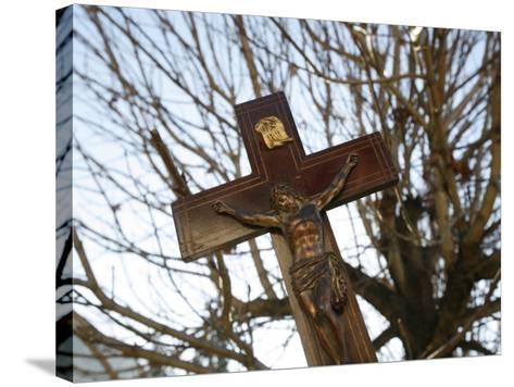 Crucifix, Saint Gervais, Haute Savoie, France, Europe-Godong-Stretched Canvas Print