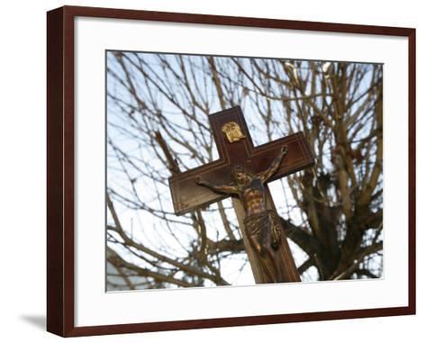 Crucifix, Saint Gervais, Haute Savoie, France, Europe-Godong-Framed Art Print