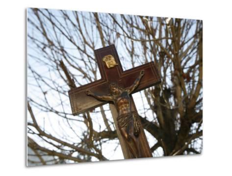 Crucifix, Saint Gervais, Haute Savoie, France, Europe-Godong-Metal Print