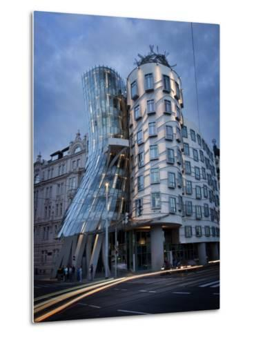 Dancing House (Fred and Ginger Building), by Frank Gehry, at Dusk, Prague, Czech Republic-Nick Servian-Metal Print