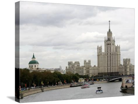 Stalin Era Building at Kotelnicheskaya Embankment, Moscow, Russia-Yadid Levy-Stretched Canvas Print