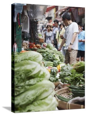 People Buying Vegetables at Graham Street Market, Central, Hong Kong Island, Hong Kong, China, Asia-Ian Trower-Stretched Canvas Print