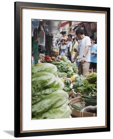 People Buying Vegetables at Graham Street Market, Central, Hong Kong Island, Hong Kong, China, Asia-Ian Trower-Framed Art Print