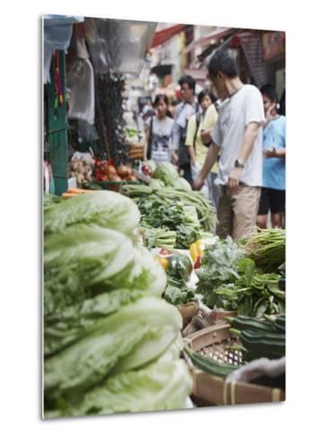 People Buying Vegetables at Graham Street Market, Central, Hong Kong Island, Hong Kong, China, Asia-Ian Trower-Metal Print