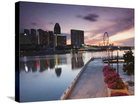 Marina Promenade at Sunrise with Singapore Flyer, Singapore, Southeast Asia, Asia-Ian Trower-Stretched Canvas Print