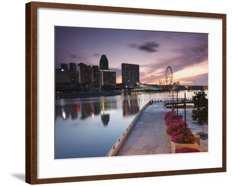 Marina Promenade at Sunrise with Singapore Flyer, Singapore, Southeast Asia, Asia-Ian Trower-Framed Art Print